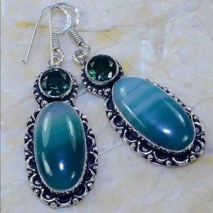 Botswana Agate & Green Quartz Silver Earrings